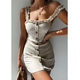 Solid Color Sexy Sling Backless Button Dress