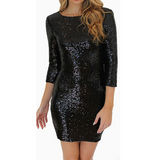 Solid Color Sequins Backless Package Hip Dress
