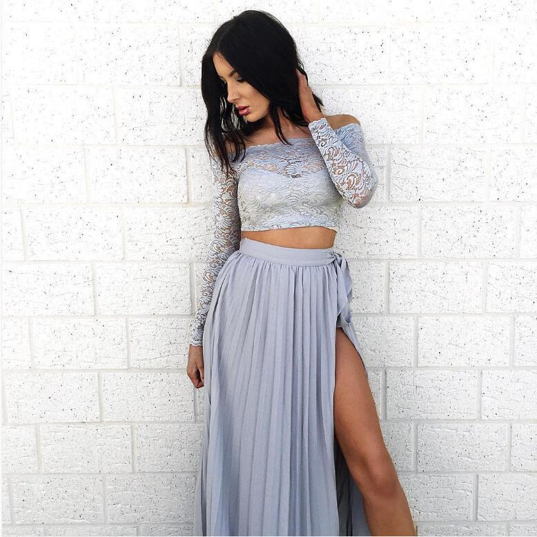 Solid Color Lace Long-Sleeved Two-Piece Dress
