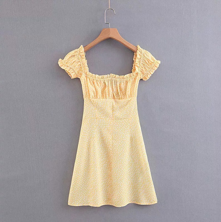 Fashion Women'S Printed Short-Sleeved Yellow Dress