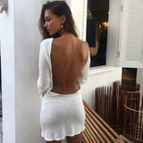 Sexy Backless Long-Sleeved Dress