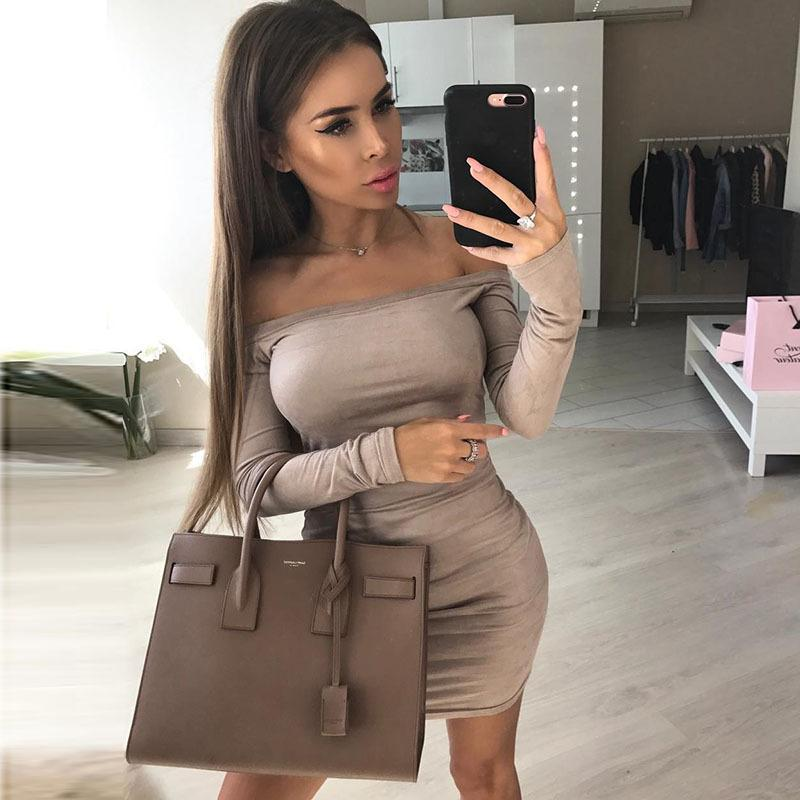 Sexy Halter Long Sleeve Hip Dress