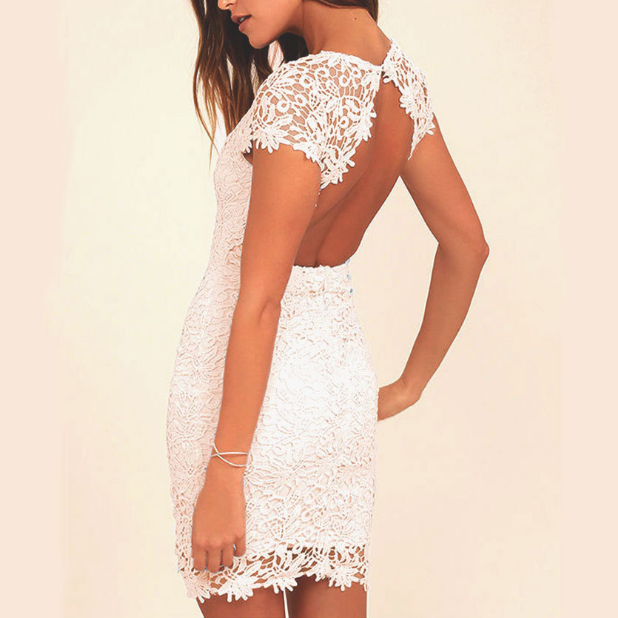 Women's Lace Sexy Backless Dress