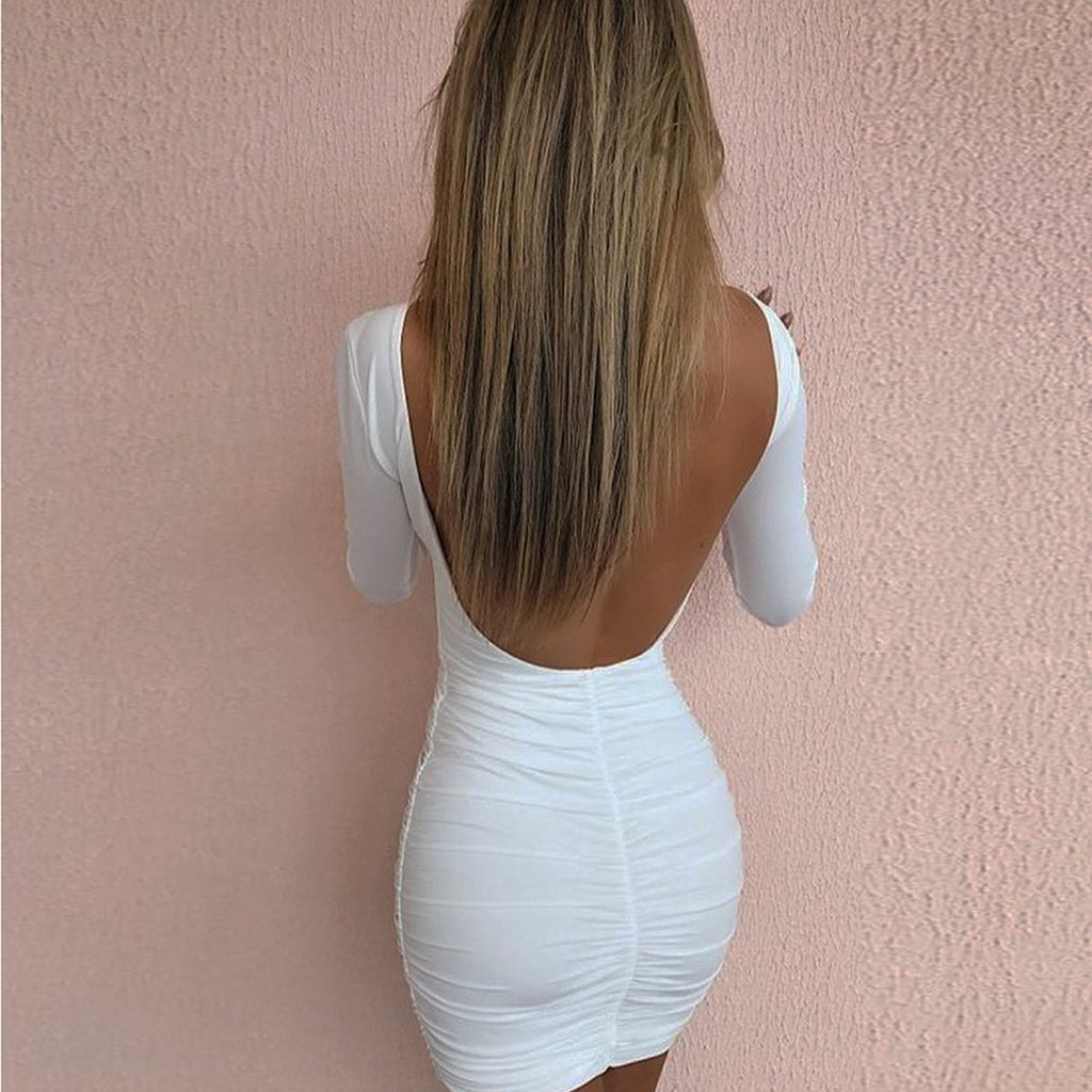 Sexy Backless Long Sleeves Package Hip Dress