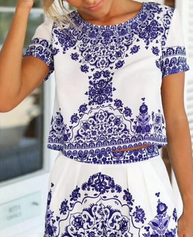 BLUE AND WHITE PORCELAIN DRESS