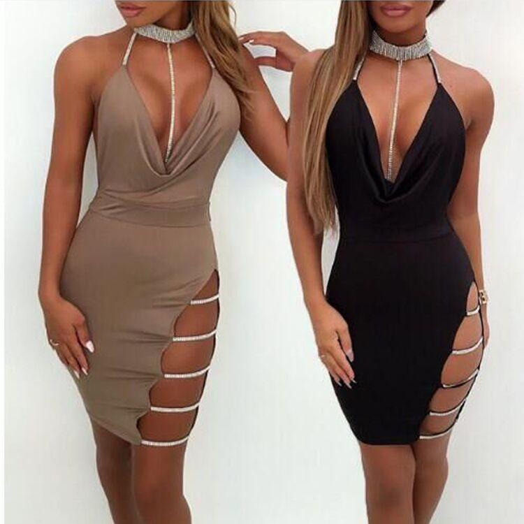 2018 Sexy Solid Color Sling Package Hip Dress
