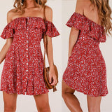 Women Sexy Short-Sleeved Printed Dress