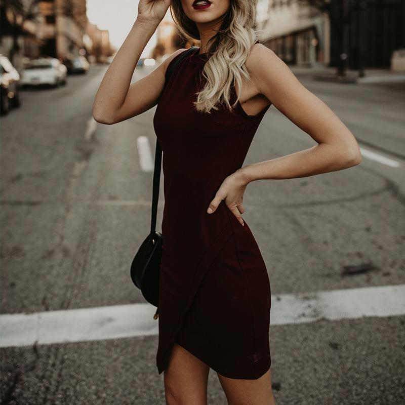 Solid Color Sleeveless Slim Sexy Dress