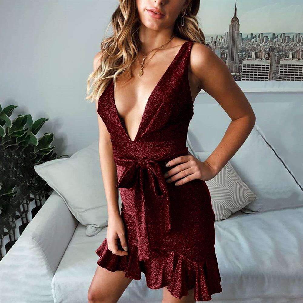 Women'S V-Neck Sleeveless Ruffled Dress