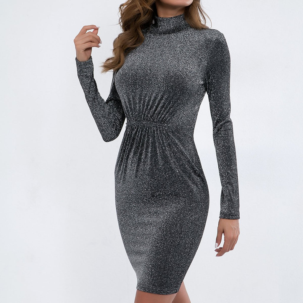 Fashion Solid Color High-Necked Long-Sleeved Dress