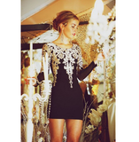 FASHION METALLIC EMBROIDERY PUFF SLEEVE DRESS
