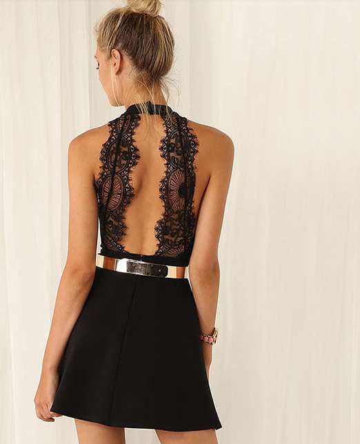 Fashion sexy lace halter dress