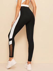 CONTRAST MESH & WHITE LEGGINGS