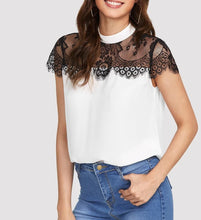 Load image into Gallery viewer, BLK&WHITE LACE BLOUSE