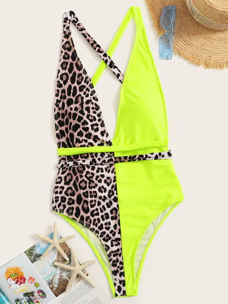 LIME & LEOPARD BACKLESS ONEPIECE
