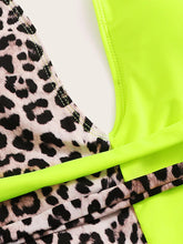 Load image into Gallery viewer, LIME & LEOPARD BACKLESS ONEPIECE