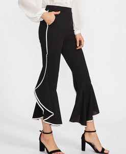 BLACK RUFFLED WHITE TRIM PANT