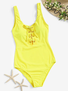 YELLOW LACED ONE PIECE