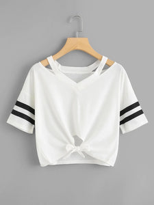 CUT-OUT VARSITY GYM TEE
