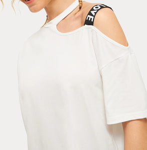 LETTER TAPE DETAIL GYM TEE