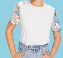 Load image into Gallery viewer, SEQUIN SLEEVE T-SHIRT