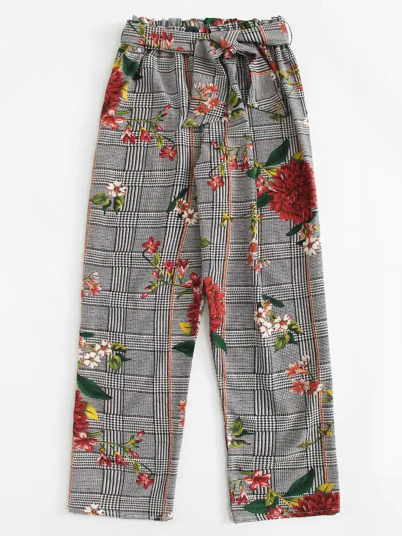LOOSE FLOWER PLAID PANTS