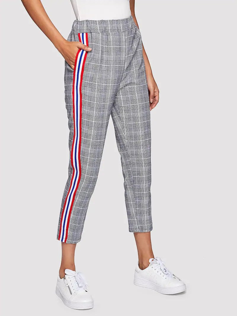 STRIPE TAPE PLAID PANTS
