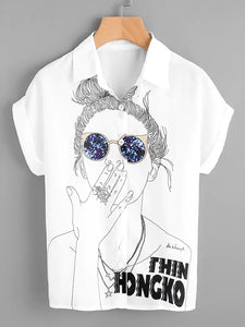 PRINTED GLASSES BLOUSE