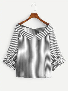 VERTICAL COLLAR STRIPED BLOUSE