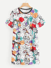 Load image into Gallery viewer, CARTOON FACE CAMI DRESS