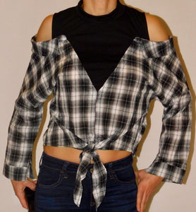 PLAID OFF THE SHOULDER SHIRT