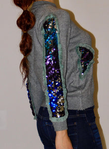 GREY SEQUINED PATCHWORK SWEATER