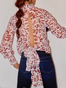 LEOPARD PRINT BACKLESS BLOUSE