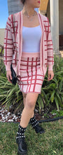 Load image into Gallery viewer, PLAID KNITTED SKIRT CARDIGAN SET