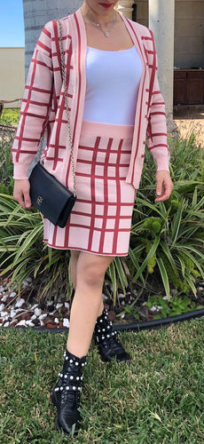PLAID KNITTED SKIRT CARDIGAN SET