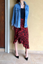 Load image into Gallery viewer, RED LEOPARD RUFFLE SKIRT