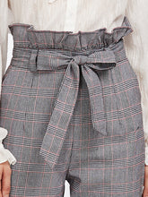 Load image into Gallery viewer, GREY BOW PLAID PANTS