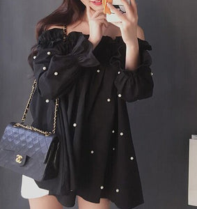 BLACK OFF SHOULDER PEARL BLOUSE
