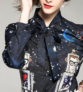 SPACE PRINTED BLOUSE