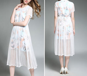 GAUZE PRINTED DRESS
