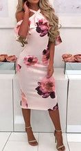 Load image into Gallery viewer, FLORAL SHOULDER RUFFLE DRESS