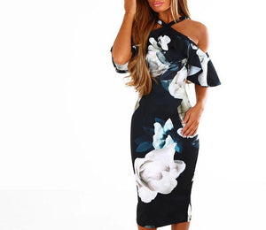 FLORAL SHOULDER RUFFLE DRESS