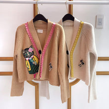 Load image into Gallery viewer, EMBROIDERY KITTY CARDIGAN