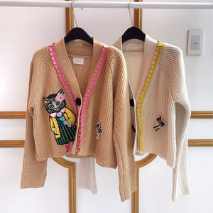 EMBROIDERY KITTY CARDIGAN