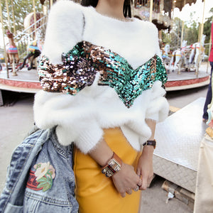 WHITE FLUFFY SEQUINED SHORT SWEATER