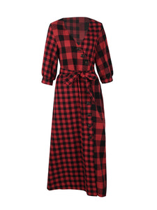PLAID MISMATCH MAXI DRESS