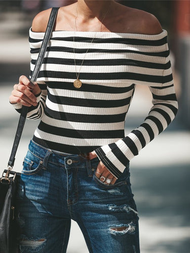 BLK/WHTE STRIPES CASUAL BODYSUIT