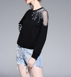 BLACK SHOULDER GAUZE DETAIL SHIRT