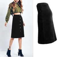 Load image into Gallery viewer, BLACK CORDUROY SKIRT