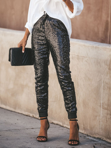 BLACK SEQUINED PANTS